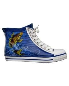 Ed Hardy KOI FISH Graphic High Top Sneakers NIB
