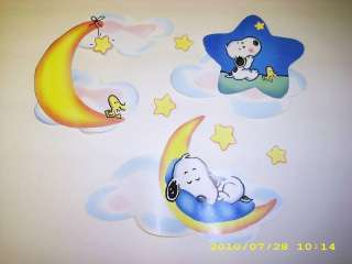 BABY SNOOPY CLOUDS & STARS WALL BORDER CUT OUT CHARACTER STICKERS
