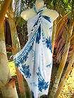 Sarong Aqua/Light Blue Hibiscus Cruise Luau Wrap Dress