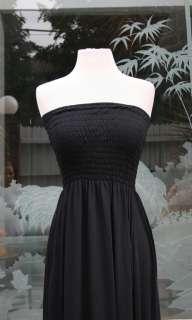 Black Smocked tube maxi long dress jersey S M L