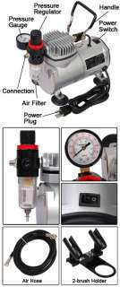 AIR COMPRESSOR W/ FILTER & DUAL AIRBRUSH HOLDER KIT NEW