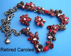 Retired Carolee Ruby Red Swarovski Crystals Necklace & Earings Set
