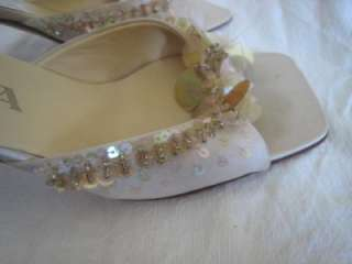 Pink Satin Beaded Embellished Wedding Dress Shoe 5.5 /35.5