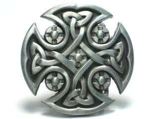 IRISH CELTIC KNOT SHIELD TRIBAL TATTOO ART BELT BUCKLE