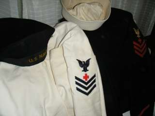 WWII US Navy Insignia Medical Patches Pull Over Tunics and Hats 1942