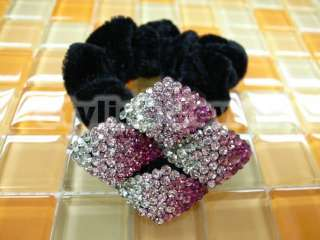 Multi Color Clear Swarovski Crystal Scrunchie Velvet Ponytail   Select