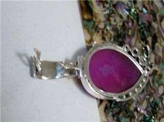 Deep Pink Druzy, Pearl, Amethyst Enhancer Pendant Sterling Silver 925