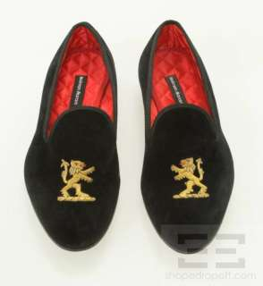 Mens Black Velvet & Gold Lion Applique Loafer Shoes