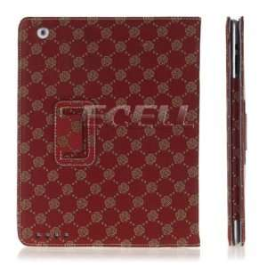 Ecell   RED ROSEBUD PATTERNED LEATHER CASE STAND FOR iPAD