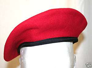 GI STYLE MIL SPEC SCARLET RED WOOL BERET SIZE 7 3/8 NEW