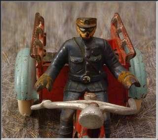 Rare 1925 HUBLEY 11.5 Cast Iron Crash Car Motorcycle w/Cop Largest