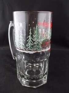 1989 Anheuser Busch Budweiser Beer Clydesdale Horses Glass Mug 32 Oz