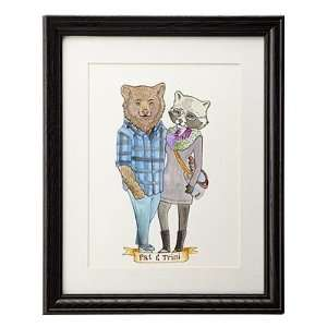Custom Animal Couple Portrait Wall Art: Home & Kitchen
