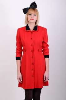 Vtg 80s MOD Red & Black WOOL Riding Jacket MINI PARTY DRESS Space Age