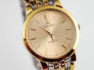 Gold man Watch quartz Wrist Watches bracelet bangle clock hour