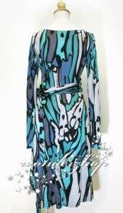 New Womens Issa London Long Sleeve Print Silk Jersey Wrap Dress