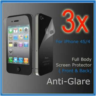 3X iPhone 4 4S Anti Glare Full Body (Front & Back) Guard Screen