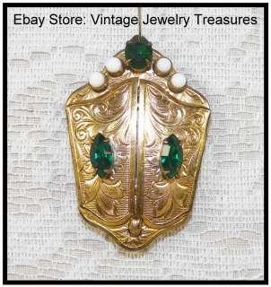 Antique Victorian 12K Gold Filled Locket Emerald Green Stones~Unusual