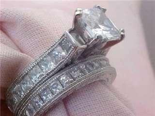 3Ct Princess Cut Engagement Wedding Ring Set Antique