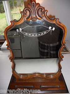 ELEGANT ANTIQUE DRESSING TABLE MIRROR ETCHED GLASS AND CARVED WOOD