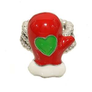 with Big Green Heart Christmas Fashion Ring with Stretch Band Jewelry