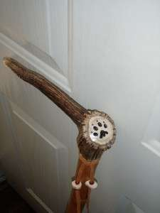 WALKING HIKING STICK ASH WOOD ELK HANDLE CARVED WOLF