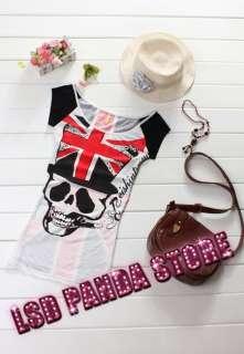 SC241 Black Skull Pattern Punk Rock Chic Girls Ladies T Shirts Top