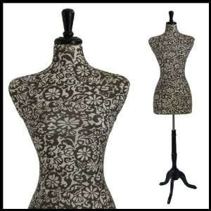FEMALE DECORATIVE DRESS FORM MANNEQUIN PRINT FABRIC FLOWERS & LEAVES
