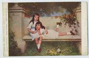 art CABANE Teddy Bear Girl Tennis 1910s postcard Salon