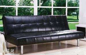 ASHBY MODERN BLACK BYCAST LEATHER ADJUSTABLE FUTON SOFA