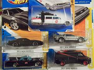 FIVE HOT WHEELS T.V. CARS~A TEAM VAN~BATMOBILE~DELOREAN~GHOSTBUSTER~K