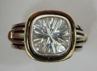 JOHN ATENCIO Zircon Sterling Silver & 18K Gold Ring 11.5g / Size 6