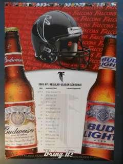 NFL Football 2001 Budweiser Poster Schedule Atlanta Falcons