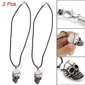 Men Faux Leather Cord Yak Bone Skull Shape Necklace