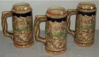 Vintage Ceramic Beer Steins Japan Castle/People Scene