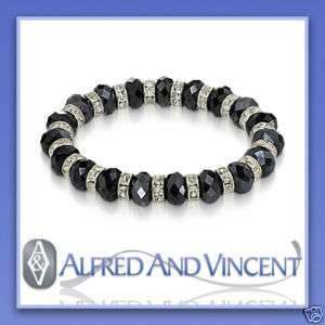 Beaded Faceted Austrian Crystal Faux Diamond Stretch Womens Bead