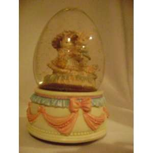 Lefton Easter Bunny Couple Egg Shaped Snow Globe Music Box