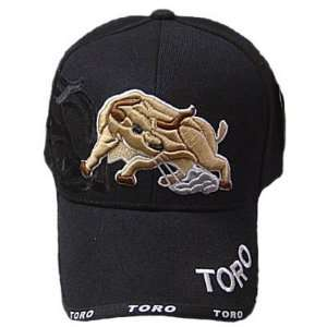 HAT CAP OUTDOOR BULL RODEO TORO BLACK VELCRO ADJ NEW
