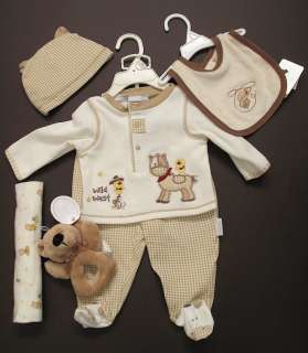 Wild West Cowboy BABY SHOWER DIAPER CAKE Outfit Plush toy Bib Horse