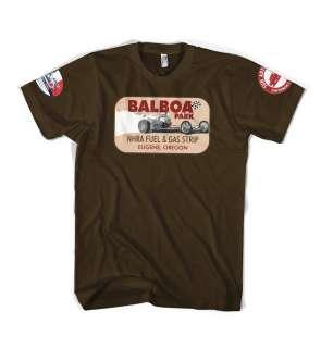 Balboa Park Drag Racing Hot Rod Rat Rod custom lowbrow t shirt
