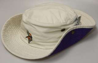 New NFL Minnesota Vikings Beige Fishing Bucket Hat w Embroidered Logo
