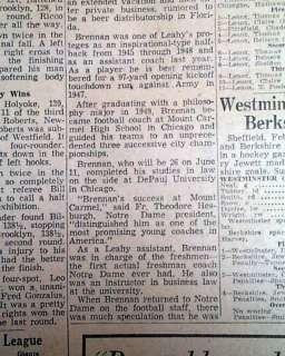 1954 TERRY BRENNAN Notre Dame Football Coach Newspaper