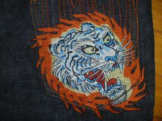 ED HARDY ♂ TIGER HEAD ♂ MENS BUTTON FLY JEANS SZ 38 X 33