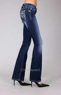 Miss Me Jeans Crystal Stitch Aloha Flower Denim Boot Cut JP5473B Sz 25