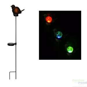 Solar Bird/Flower Stakes with Color Changing LED Lights, 8 of each