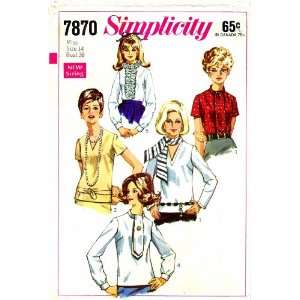 Simplicity 7870 Vintage Sewing Pattern Blouses Ruffled Ascot