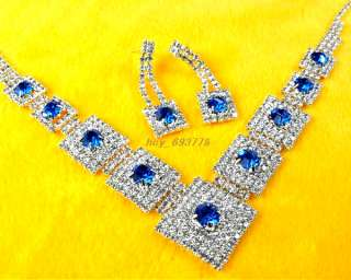 New Gorgeous Prom/Bridal Rhinestone Blue Bead Necklace