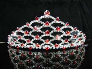 A9030 8 Red Wedding Bridal Prom Veil Rhinestone Tiara
