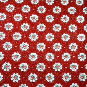 Springs Cotton Fabric Retro Red & White Floral FQs