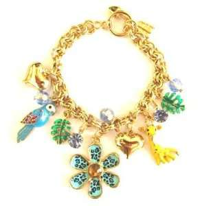 Knick Knack Tropica Parrot Turquoise Flower Theme Goldtone Colorful